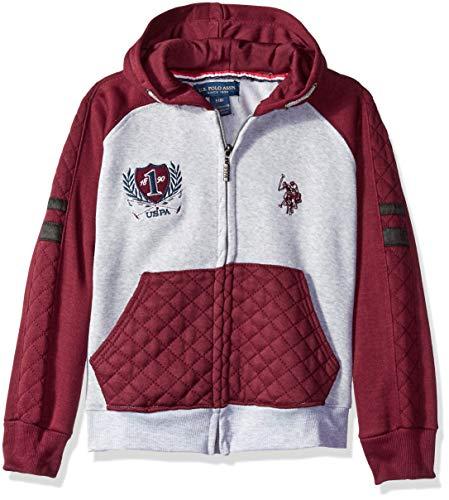 U.S. Polo Assn. Big Boys' Hooded Zip or Snap Fleece Jacket, Diamond Light Heather Gray, - Zip Diamond Hoodie