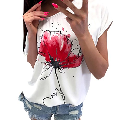 Women Casual Floral Print Blouse Short Sleeve Loose Top Shirt Tee (XL, White)