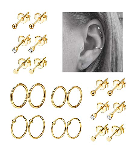 REVOLIA 10Pairs Stainless Steel Cartilage Earrings, used for sale  Delivered anywhere in USA