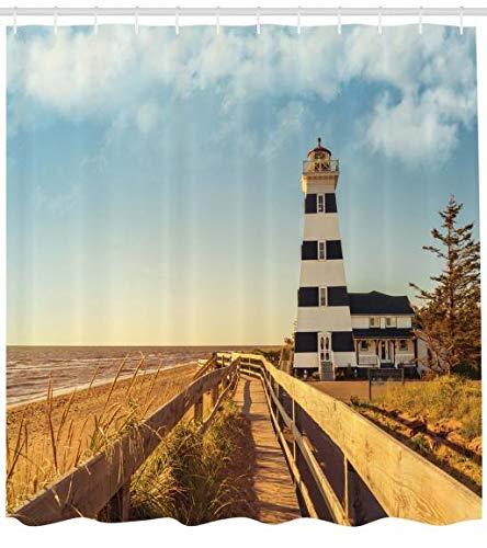 Leuchtturm Digitaldruck Duschvorhang Leuchtturm Meer Wellen Mit 12Haken 175x200