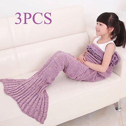 3PCS GDAE10 Children Warm Soft Crochet Handmade Mermaid Tail Blanket Knitting Living Sleeping Bag Girls Kids (Lavender (Crochet Lavender)