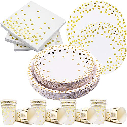 Modda 200Pcs Gold Dot Disposable Paper Plates, Cup, Napkin Set - 50 Dinner and Dessert Plates, 50 Cups and Napkins - Engagement Birthday Wedding Bachelorette Baby Shower Party Plates, Dinnerware Sets - Gold Fancy Star