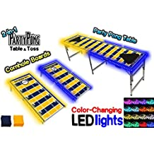 2-in-1 Cornhole Boards & Beer Pong Table w/ Color-Changing LED Glow Lights - Los Angeles Football Field