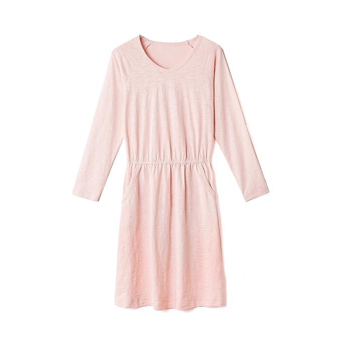Pijamas cómodos de la señora De la mujer manga larga algodón camisón-A XL