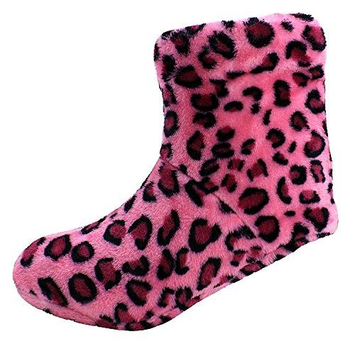 Stivali Donna Pantofole Enimay Lounge House Scarpe Rilassate Cuori Stelle A Pois Rosa Caldo Cheetah - 3