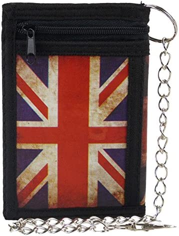 Para hombre Boys Unión Jack Funda tipo cartera plegable en tres con cadena Clip británico bandera de Reino Unido: Amazon.es: Equipaje
