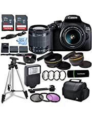 Canon EOS 2000D (Rebel T7) DSLR Camera w/Canon EF-S 18-55mm F/3.5-5.6 Zoom Lens + Case + Sandisk 128gb Ultra Memory Card with Inspire Digital Cloth (Renewed)