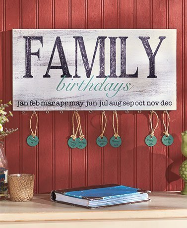 Wood Family Birthday Plaque. Wonderful Way to Keep Track of Family Birthdays. Country Style -