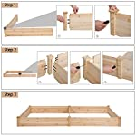 YAHEETECH Wood Raised Garden Bed Boxes Kit Elevated Flower Bed Planter Box for Vegetables Natural Wood 92.3 x 47.4 x 10… 12 BUILD YOUR DREAM GARDEN - This garden bed planter is separated into two growing area for different plants or planting methods. The baffle can be removed to create a bigger growing area if needed. You can get several garden beds to design and build your own dream garden. USEFUL & PRACTICAL - With this helpful planter, you can cultivate plants like vegetable, flowers, herbs in your patio, yard, garden and greenhouse, and make them more convenient to manage. SELECTED MATERIAL - Our raised garden bed is made of no paint, non-toxic fir wood. The boards are only sanded to prevent any undesired injury caused by wood splinters. 1.5cm/ 0.6'' thick solid wood boards are joined and fixed by screws, making it a durable piece for your long-term use.