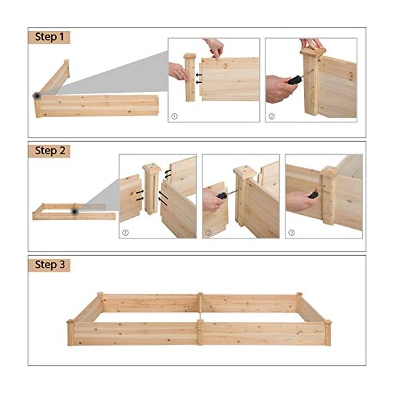YAHEETECH Wood Raised Garden Bed Boxes Kit Elevated Flower Bed Planter Box for Vegetables Natural Wood 92.3 x 47.4 x 10… 5 BUILD YOUR DREAM GARDEN - This garden bed planter is separated into two growing area for different plants or planting methods. The baffle can be removed to create a bigger growing area if needed. You can get several garden beds to design and build your own dream garden. USEFUL & PRACTICAL - With this helpful planter, you can cultivate plants like vegetable, flowers, herbs in your patio, yard, garden and greenhouse, and make them more convenient to manage. SELECTED MATERIAL - Our raised garden bed is made of no paint, non-toxic fir wood. The boards are only sanded to prevent any undesired injury caused by wood splinters. 1.5cm/ 0.6'' thick solid wood boards are joined and fixed by screws, making it a durable piece for your long-term use.