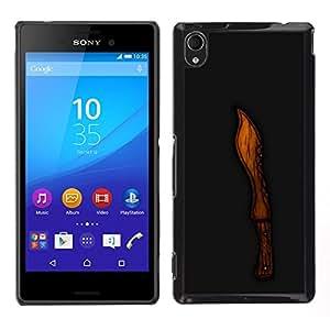 LECELL--Funda protectora / Cubierta / Piel For Sony Xperia M4 Aqua -- Madera Cut Knife Negro Tallado --