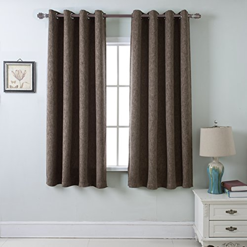 Lambary Darkening Grommet Drapes Solid Burlap Faux Linen Curtain with Thermal Insulated Blackout For Bedroom, Chocolate Brown (1 pair, 52in. X (Chocolate Brown Drapes)