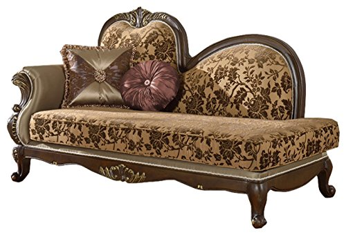 Hand Carved Chaise (Meridian Furniture 610-CH Catania Solid Wood Upholstered Chaise Lounge with Imported Fabrics, and Traditional Hand Carved Designs, Dark Cherry Finish)