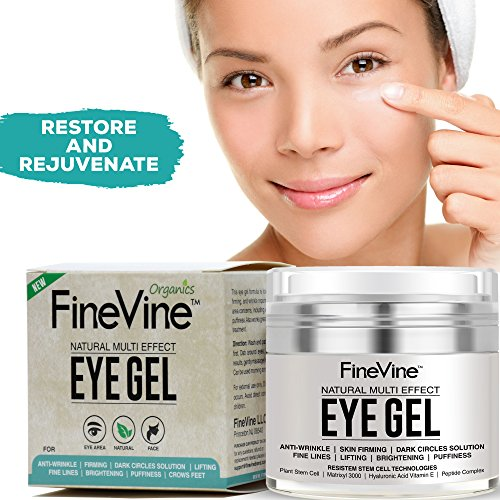 51iwx1WV9DL - Anti Aging Eye Gel - Made in USA - for Dark Circles, Puffiness, Wrinkles, Bags, Skin Firming, Fine Lines and crows feet - The Best Natural Eye Gel for Under and Around Eyes.