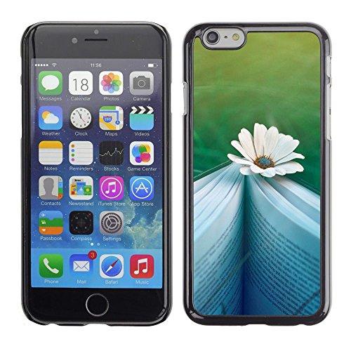 TopCaseStore / caoutchouc Hard Case Housse de protection la Peau - Book Reading Letters Writing Daisy Flower - Apple iPhone 6