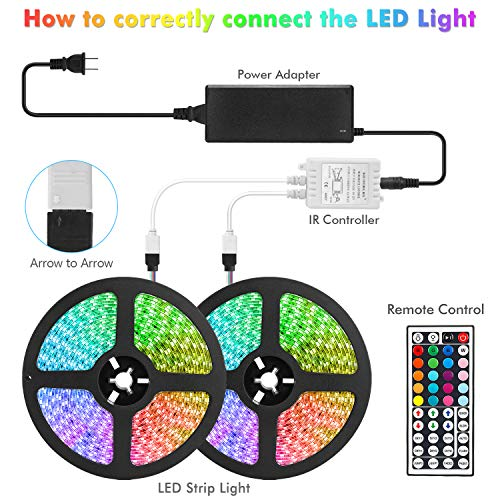 65.6ft/20M LED Strip Light RGB NUOENXUAN Flexible Rope Lights 5050 SMD RGB 600 LEDs Non Waterproof Tape Light with 44 Keys Wireless Remote Control and 12V Power Adapter for Home Kitchen Party Deco