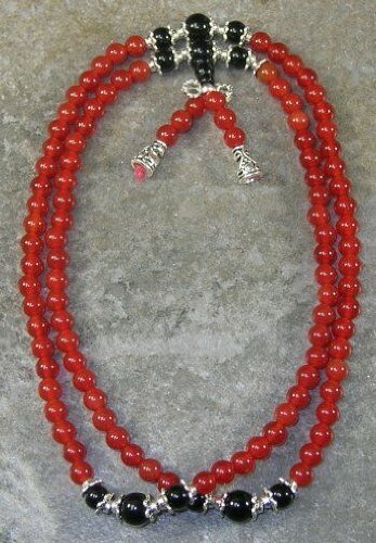 6mm Carnelian & Onyx 27 inch Buddhist Mala Prayer Beads - 108 Beads (Carnelian Onyx)