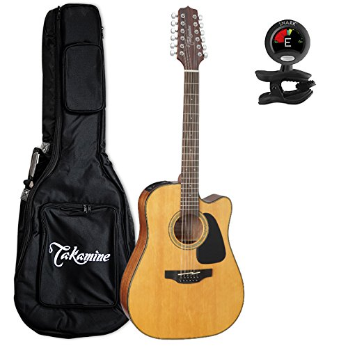 Takamine GD30CE-12NAT Dreadnought 12-String Cutaway Acoustic-Electric Guitar with Takamine Gig Bag and Tuner (12 Takamine String Acoustic Electric)