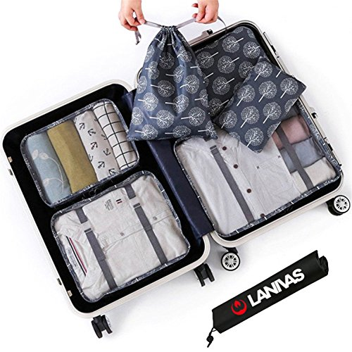 Packing Cube Set,Lanivas 7 Set Floral Pattern Traveler Double Zipper Luggage Accessories Tree