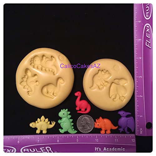 Dinosaur 5 Indent Fondant Mold Chocolate Candy Gumpaste Soap Resin Clay by CalicoCakesAZMolds