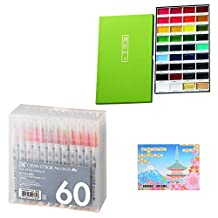 Kuretake Gansai Tambi 36 Color Set (MC20/36V) Japanese Traditional Solid Water Colours+ Fude Real Brush Pen, Clean Color, 60 Set (RB-6000AT/60V) +SAKURA original sticky notes