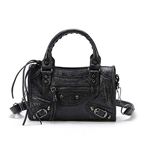 Classic Black Motorcycle Handbags for Women Black Studed City Bags (30cm-Small Size) (City Gold Bag)