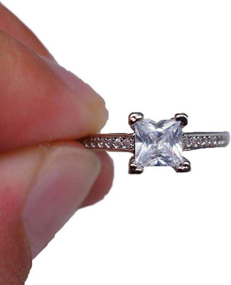 Scpink Anillo de Diamantes Mujer,Pequeño círculo,Diamante Cuadrado,Hecho con Swarovski Elements,Tachonado con Zircon cúbico (Plateado, 6)