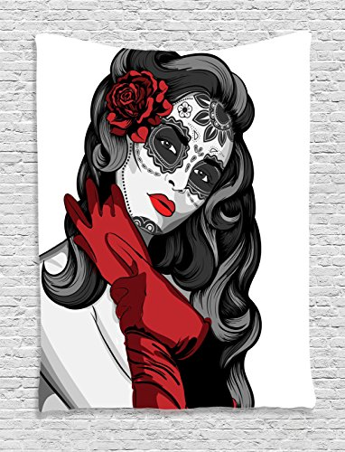 Ambesonne Skulls Decorations Collection, Sexy Sugar Skull Lady with Mexican Style Floral Mask Evil Gothic Dead Art, Bedroom Living Room Dorm Wall Hanging Tapestry, Grey White Black Red