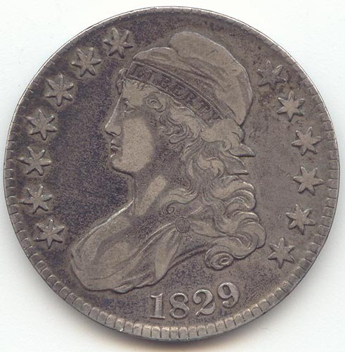 1829 Capped Bust Half Dollar Extra Fine