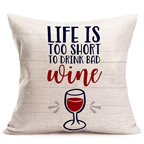 Asamour Funny Lettering Words Throw Pillow Covers Vintage Wood with Lettering Cotton Linen Decorative Cushion Cover Pillow Case Home Sofa Pillowcase 18x18 Inches (Life is Too Short to Drink Bad Wine)