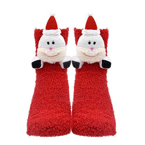 Women Girls 3D Cute Animals Slipper Sleeping Winter Crew Fuzzy Cozy Socks Value Pack (3D Santa)