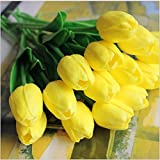 SHINE-CO Single Stem Real PU Touched Artificial Tulips High Quality 10 Pcs Arrangement Bouquet with Glorious Moral for Home Office Wedding Parties (Yellow)