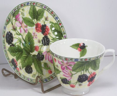 (Fine English Bone China Cup and Saucer Blackberry Chintz)