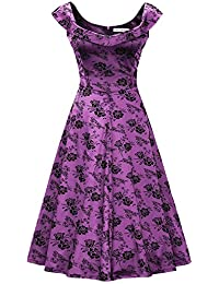 Amazon purples wedding dresses wedding party clothing womens 1950s scoop neck off shoulder cocktail dress junglespirit