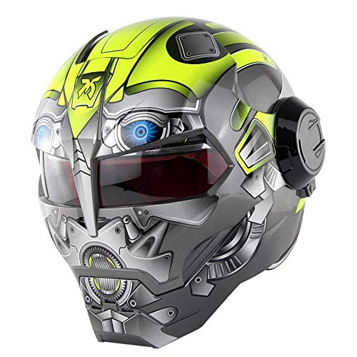 Full Face Motorcycle Helmet Off-Road, High-End Skull Ghost Claw Personality Retro Style, Transformers Helmet Yellow Robot Series,XL
