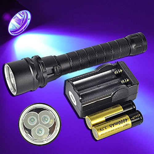 UV 395nm 3x XPE LED Underwater 100M Scuba Diving Flashlight Torch+18650+Charger