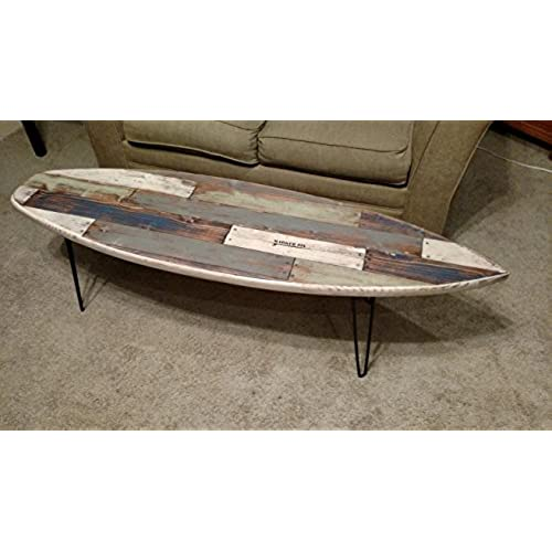 Merveilleux Faux Pallet Wood Surfboard Coffee Table