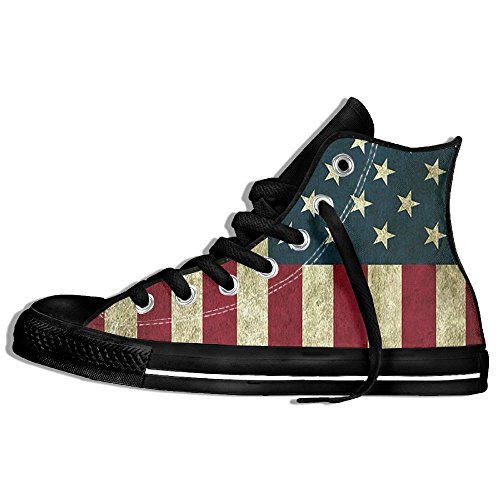 Classic High Top Sneakers Canvas Shoes Anti-Skid Vintage American Flag Casual Walking For Men Women Black shW5ACGYv