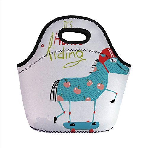 Neoprene Lunch Bag,Quirky Decor,Horse with Helmet on Skateboard Colorful Funny Kids Cartoon Humorous Childish,Multicolor,for Kids Adult Thermal Insulated Tote Bags
