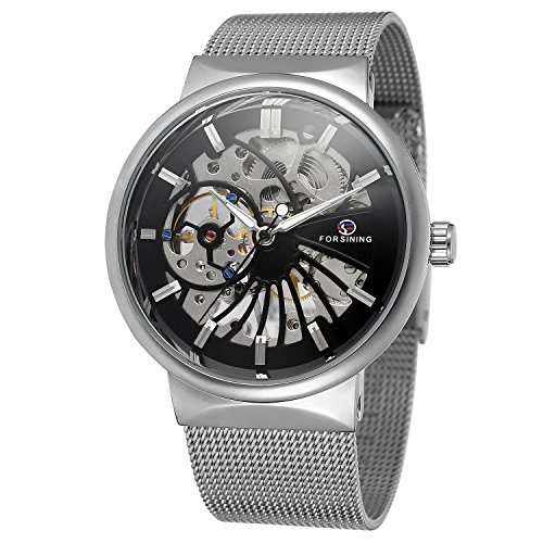 FORSINING Men's Popular Mechanical Hand-wind Ultra Thin Stainless Steel Bracelet Mesh Skeleton (17 Jewel Manual Wind)