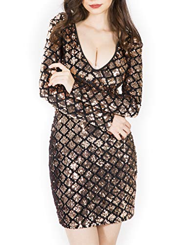 SOMTHRON Women's Geo Grid Bodycon Sequin Short Dresses Long Sleeve Plunging Lattice Mini Party Dresses(GO-S)