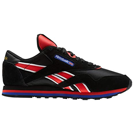 f8c4a0d1f28 Amazon.com  Reebok Classic Leather Nylon Pe (Black White DAYGLOW RED A)  Women s Shoes CN3905  Sports   Outdoors