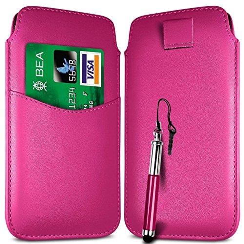 N4U Online - Carte Apple Iphone 4 Emplacement premium PU Pull en cuir flip Tab Housse Etui et Stylet rétractable - Rose