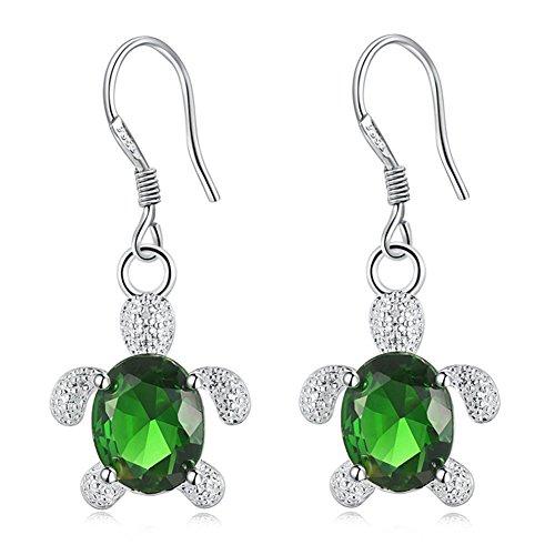 Dds5391 New Cute Turtle Zircon Inlaid Dangle Eardrops Hook Earrings Fashion Women Jewelry - Green (Earrings Charm Turtle)