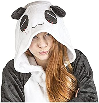 Ducomi Kigurumi Pigiama Unisex Adulto Cosplay Costume Animale Pigiamone Tuta Unicorno Pigiami Costumi Divertenti Peluche Halloween e Carnevale Donna Uomo Koala Panda