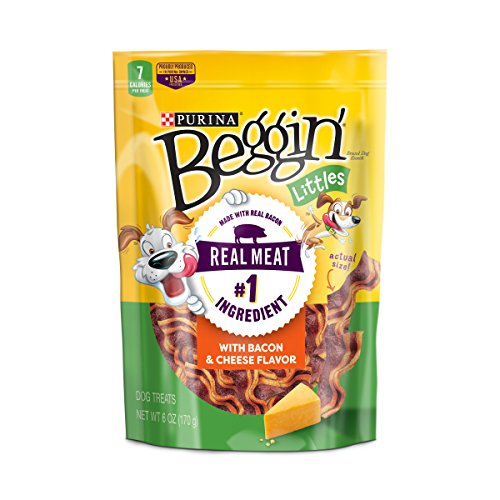 Purina Beggin' Made in USA Facilities Small Breed Dog Treats; Littles With Bacon & Cheese Flavor - 6 oz. Pouch , Pack of 6