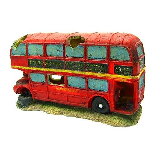 """Double-decker bus Aquarium Ornament8.7""""- red car decoration fish tank cave hide"""