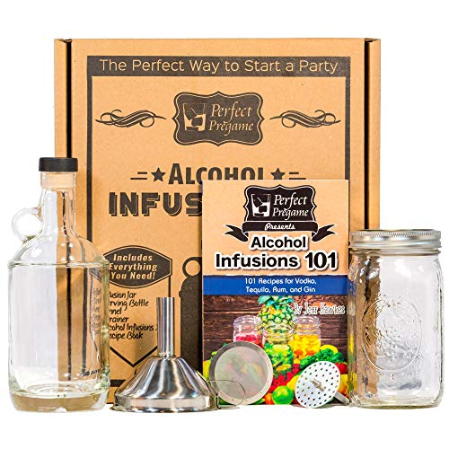 Perfect Pregame Alcohol Infusion Kit - Make Your Own Homemade Liquor Infusions Gift Set - Includes Bottles and Alcohol Infusions 101 W/Recipes for Vodka Gin Rum and Tequila Infusions and Cocktails (Infusion Rum)