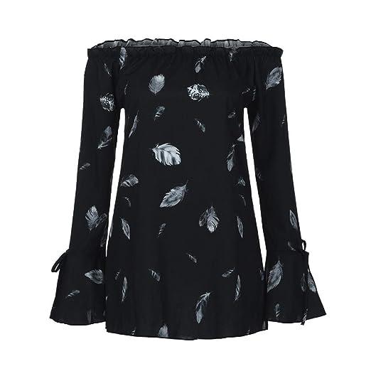 06b17bd160c98d Gocheaper Women Plus Size Off Shoulder Floral Print Long Sleeve Shirt Tops  Fashion Blouse(Black