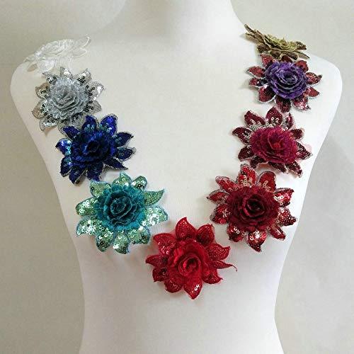 10 Pcs 3D Multi-Color Random Sequins Rose Wedding Dress Lace Applique Charming Embroidery Eugene Yarn Edge DIY Sewing Process (Diameter: 8cm)